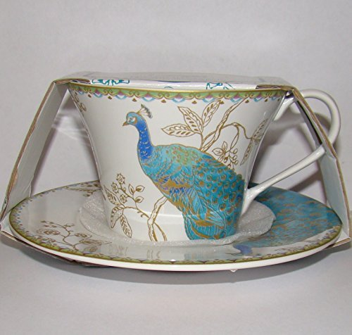 222 Fifth Peacock Garden Cup & Saucer For Coffee or Tea Fine China Tableware by 222 Fifth 222 Fifth China