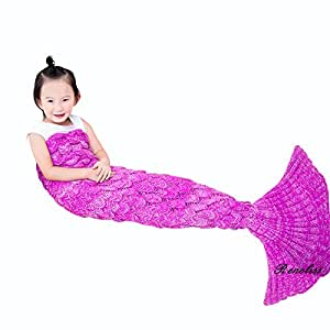 Renoliss coperta sacco a pelo in maglia all'uncinetto a forma di coda di sirena, sacco a pelo per bambini, coperta per tutte le stagioni, 140 x 70 cm kids pink-2