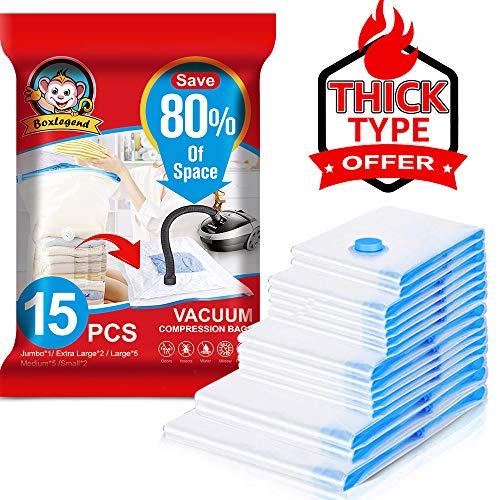 Boxlegend sacchetti sottovuoto vestiti sacchetti sottovuoto 15 pezzi tipo spesso 100 microns 1xxl + 2xl + 5l + 5m + 2s riutilizzabili per contenere coperte vestiti lenzuola piumoni cuscini