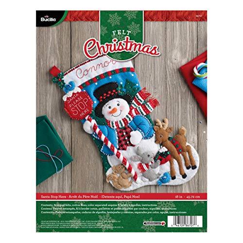 Bucilla Santa Stop Here Weihnachtsstrumpf-Applikation aus Filz, Mehrfarbig, 29.8422,86x 22,86x 6,35cm (Weihnachtsstrumpf Filz Kit)