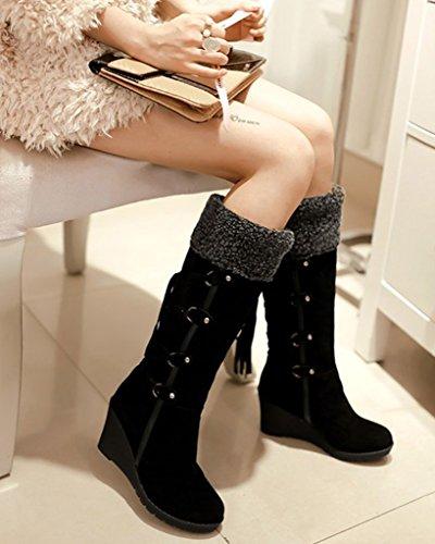 De Femme Noir Coton Rembourré Chaud Neige Chaussures Hiver Peluche 4pwfa7aYq
