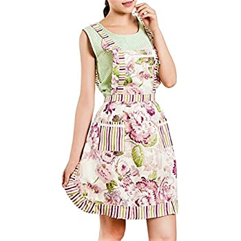 RayLineDo Stylish Rose Flower Pattern Women Chefs Cooking Cook Apron Tabard with Twin Double Pockets
