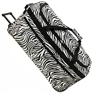 Karabar Extra Large 34 Inch Wheeled Holdall - 3 Years Warranty! (Zebra Black)