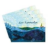 4er Set Kommunionkarten 'Motiv Wal', Glückwunschkarten, Boot auf Meer mit Wal, Glückwunsch, Kommunionkarten, Einladung, Danksagung, Danke, edel, blau, schiff
