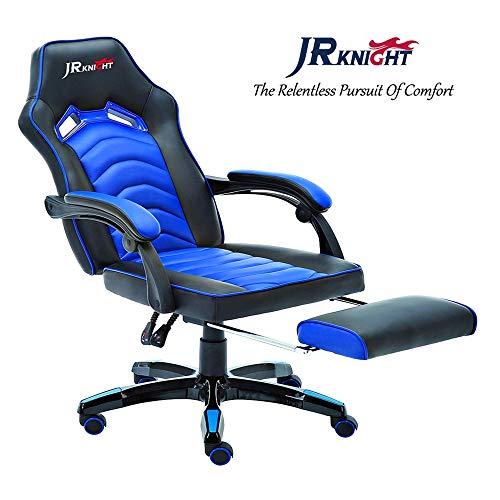 Ergonomischer Gaming Stuhl, neues Diamantstreifen-Design, für Home Office Computer Racing, exklusiver Leder-Drehstuhl mit Liege, flexible Armlehne und Beinstütze, (blau, LC-02BKBL)