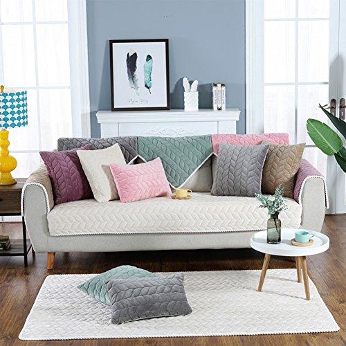 Dw&hx breve peluche copertura divano trapuntato fodera per divano copridivano copertine componibile multi-size antiscivolo antimacchia colore puro sofa protettore mobili coperture per salotto -beige cuscino 45x45cm(18x18inch)