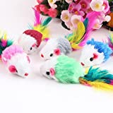 Gemini_mall® Pack of 10 Furry kitten Mice Cat Toys with Feathers and Artificial Fur (Mice)