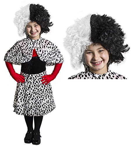 Mädchen Evil Dog Lady Dalmatiner Print Fancy Kleid Kostüm & Perücke ideal für Mädchen Schule Buch Woche + Welt Buch Tag Fancy Kleid (Kinder Cruella Kostüm De Vil)