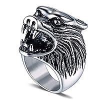 الاستبداد الطوطم التيتانيوم الصلب الذئب رئيس الدائري شخصية خمر صب التيتانيوم الصلب الدائري الرجال مجوهرات عارضة الأزياء خواتم