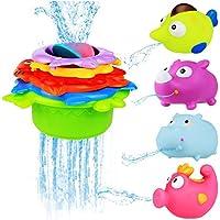 BBLIKE Badespielzeug Stapeln Tassen Spielzeug Gummiente Set mit Alphabet Buchstaben Zahl Süß Geschenk für Baby, Kleinkind Jungen und Mädchen - ab 12 Monate preisvergleich bei kleinkindspielzeugpreise.eu