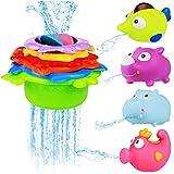 Badewanne Stapelbecher und Squirting Badespielzeug Rubber Animals BPA frei, – BBLIKE Lustig und Bunt Gefärbte Meerestiere,Indoor Outdoor Beach Fun Spielzeug