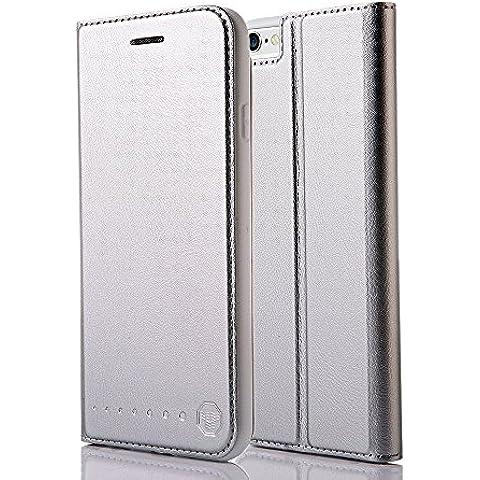 Funda tipo cartera Nouske para iPhone 6 Plus y 6S Plus de 5.5 pulgadas de Apple,Espacio gris