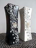 Moderne 30cm aus Keramik mit und Blume Glitzer Vase in schwarz oder weiß von  Weiß