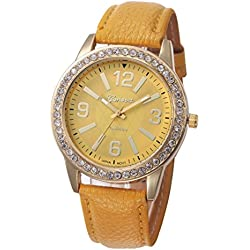 WINWINTOM Women Stainless Steel Analog Leather Quartz Wrist Watch Yellow