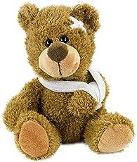 Plüschteddybär mit Verband, 21 cm, kranker Teddy, verletzter Plüschbär, Plüsch braun