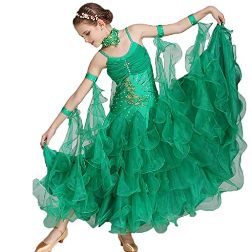 ZZX Ballsaal Tanz Wettbewerb Kleid Ärmellose Sling Waltz Foxtrot Performance Kostüm Salsa Tango Stretch Big Swing Rock (Color : Green, Size : - Salsa Tanz Wettbewerbs Kostüm