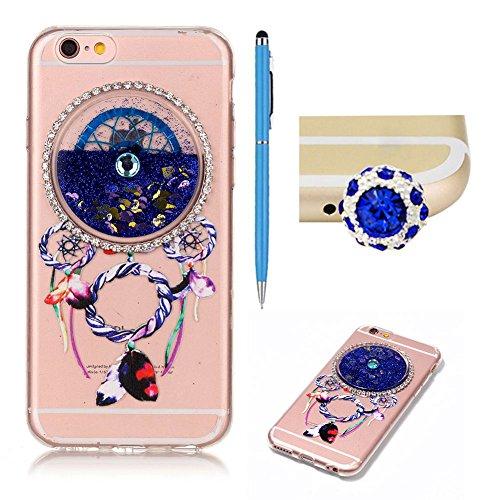 SKYXD Pour Iphone 7 4.7 Pouce Coque 3D Motif Campanule Bling Glitter Fluide Liquide Sparkles Sables Mouvants Paillettes Flowing Brillante Étui Strass Ultra Mince Transparente Crystal Clair Souple TPU  Bleu