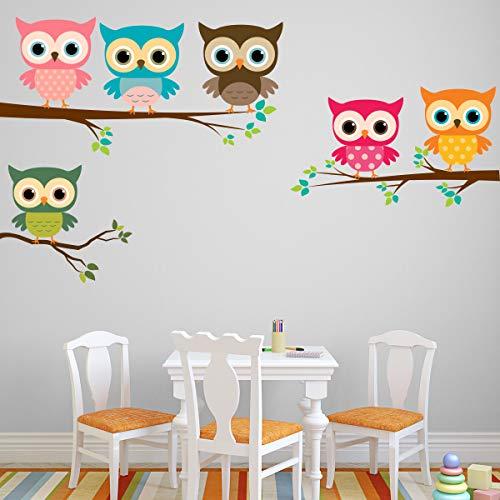 Stickers adhésifs Enfants | Sticker Autocollant hiboux en couleur - Décoration murale chambre enfants | 50 x 70 cm