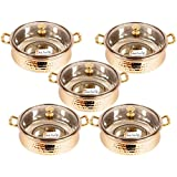 """Set Of 5 Prisha India Craft ® High Quality Handmade Steel Copper Casserole With Lid - Copper Serving Handi Bowl - Copper Serveware Dishes Bowl Dia - 5.00"""" X Height - 2.25"""" - Diwali Gift With Free Copper Cleaning Powder With WOODEN KEYRING EL"""