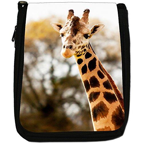 African giraffa Medium Nero Borsa In Tela, taglia M Portrait Of A Giraffe