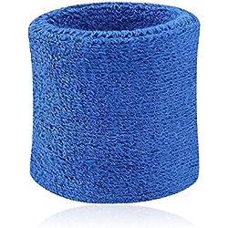 Westeng Wrist Wraps – Bandas Muñequeras para el sudor, bandas de uso profesional de paño de algodón, muñequeras atléticas deportivas, para Yoga, en muchos colores., azul