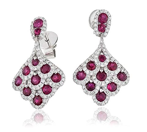 2.20CT Certified G/VS2 Ruby Centres and Round Brilliant Cut Micro Set Grape Cluster Diamond Drop Earrings in 18K White Gold