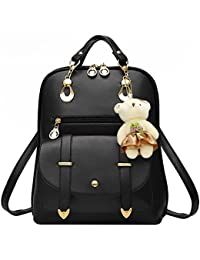 Hotrose® - Bolso mochila de Piel para mujer Negro negro