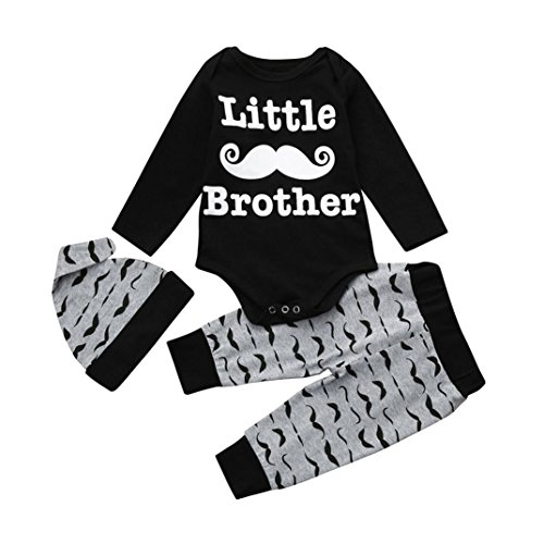 Baby Boys Outfits Clothes Set Romper Tops+Pants+Hat 3Pcs Baby Sleepwear Playsuit (0-3Months, Black)