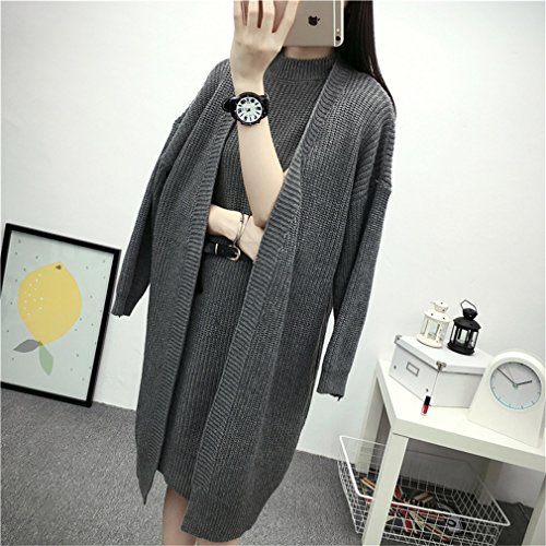 Honghu Casual Open Cardigan à Manches Longues Gilet Femme Mode Sweater Outwear Coat Gris Foncé