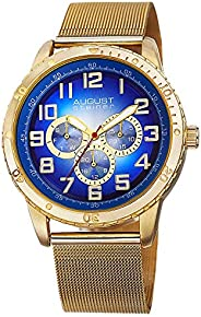 August Steiner Men's Casual Multifunction Watch - Dial with Big Numbers and Day of Week, Date, and 24 Hour