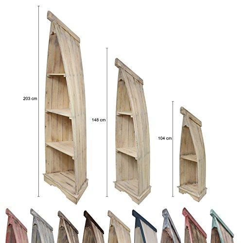 Bootsregal Boot Regal Bücherregal Bücherschrank Standregal Aufbewahrung 104 cm Whitewash Albesia Holz Natur WW (Bücherschrank Antik)