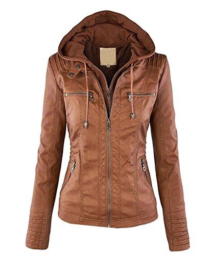 Minetom Damen Herbst Vintage Übergangs Jacke Winter Kunstlederjacke Kapuzenmäntel Zipper Slim Fit Coat Khaki DE 38 -