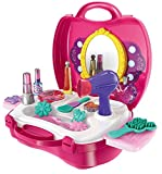 #2: ZZ ZONEX Beauty Make up Case and Cosmetic Set Suitcase, Durable Kit Hair Salon with 21 Pcs Makeup Accessories for Children Girls