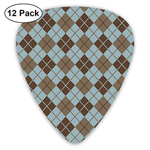 Guitar Picks - Abstract Art Colorful Designs,Argyle Pattern With Diamond Shaped Rectangles Lines Abstract Geometric,Unique Guitar Gift,For Bass Electric & Acoustic Guitars-12 Pack