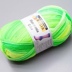 100 gr Sock wool sock yarn Regia 4-ply Fluormania neon leaf color Fb.7186