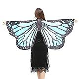 Schmetterlings Flügel Schals, VEMOW Frauen 147 * 70CM Mehrfarbig Shawl Weiches Gewebe Fee Damen Nymph Pixie Tanzperformance Halloween Cosplay Weihnachten Cosplay Kostüm Zusatz(X3-Himmelblau, 147*70CM)