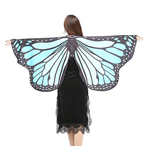 Schmetterlings Flügel Schals, VEMOW Frauen 147 * 70CM Mehrfarbig Shawl Weiches Gewebe Fee Damen Nymph Pixie Tanzperformance Halloween Cosplay Weihnachten Cosplay Kostüm Zusatz(X3-Himmelblau, 147*70CM)