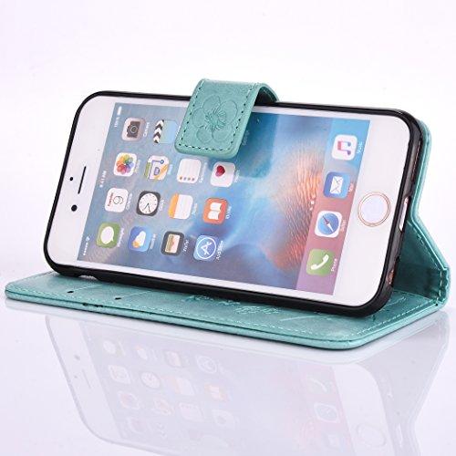 EUWLY Portafoglio Cover per iPhone 6/iPhone 6s (4.7), Retro Luxury Pure Color Flip Case Cover per iPhone 6/iPhone 6s (4.7) in Pelle PU Custodia Cover [Shock-Absorption] Protettiva Portafoglio Cover  Fiore Foglie,Verde