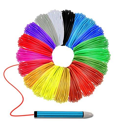 3D Stift Drucker Filament, Maigel 1.75mm Filament Minen PLA Material 20 Farbe / 10M pro Farbe einschließlich 6 Glow In The Dark Farben, 6 Fluo für 3D-Druck Zeichnung Malerei Stift (20 Farben)