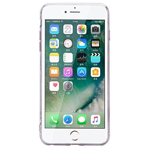 HB-Int Hülle für iPhone 7 Silikon Transparent Case Bling Glitter Schutzhülle mit Sternform Spiegel Durchsichtig Blau Pailletten Bumper Cover Handytasche Silber