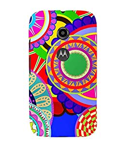 99Sublimation Animated Royal Pattern with lot of Circle 3D Hard Polycarbonate Back Case Cover for Motorola Moto E2 :: E Dual SIM 2nd gen :: 3G XT1506 :: 4G XT1521