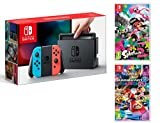 Nintendo Switch Rouge/Bleu Néon 32Go Pack + Mario Kart 8 Deluxe + Splatoon 2