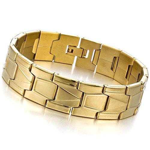 MunkiMix Acier Inoxydable Bracelet Lien Poignet Noir d'Argent Or Deux Ton Homme Or