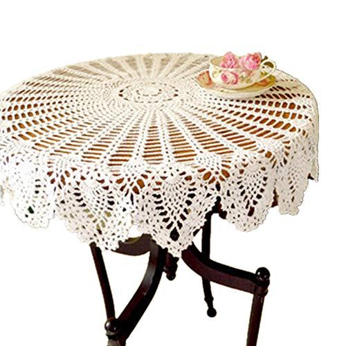 Yizunnu Vintage Runde Spitze Tischdecke, Handgefertigt, gehäkelt, Baumwolle, 90 cm, weiß, 90cm Round