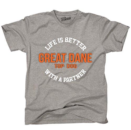 Siviwonder Unisex T-Shirt GREAT DANE - LIFE IS BETTER PARTNER Hunde Sports Grey