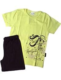 Zweiteiler T-Shirt mit Shorts -Vegas Sports - Gelb/Schwarz