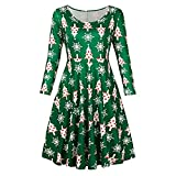 Luckycat Damen Vintage Christmas Santa Printed Kostüm A Line Lose Swing Dress Abendkleider Cocktailkleid Partykleider Blusenkleid Mode 2018