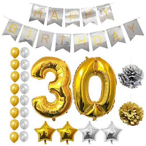 Luftballons u. Dekoration zum 30. Geburtstag von Belle Vous - 24-tlg. Set - Großer 30 Jahre Folienballon - 30,5cm Gold u. Silberne Dekorative Latexballons - Dekor für Erwachsene (Prinzessin Sofia Kuchen)