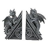 Design Toscano Decorazione in stile gotico Il Castello del Drago Statuette decorative reggilibri, poliresina, pietra grigia, 20,25 cm, confezione da due