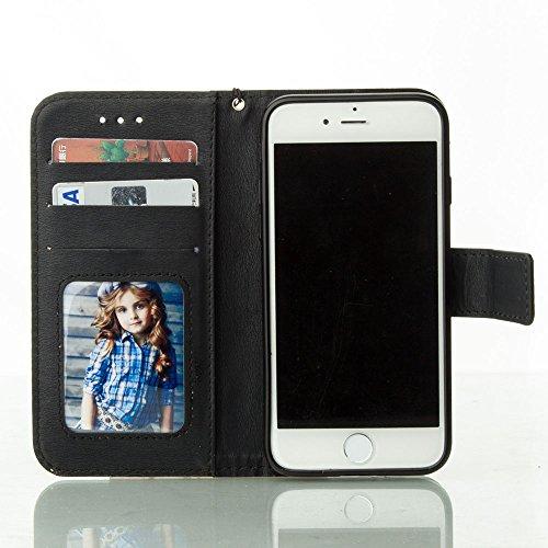 Rabat Style Portefeuille iPhone 7 Coque ( Noir ) Anti Choc, Housse Etui Apple iPhone 7 4.7 pouce Carte Titulaire PU Cuir Poids léger Case, Élégant Floral Fleur Embossage Motif Noir